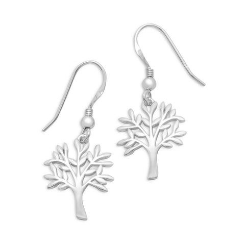 Rhodium Plated Tree Earrings | Worlds Largest Jewelry Store