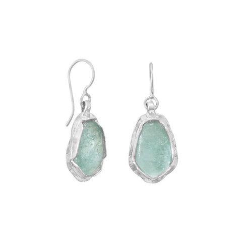 Polished Pear Ancient Roman Glass Drop Earrings | Jewelry Store