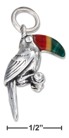 Sterling Silver Three Dimensional Toucan Charm With Simulated Stone Beak | Jewelry Store