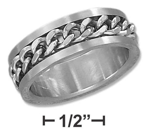 Stainless Steel Mens 8mm Curb Chain Spinner Band | Jewelry Store