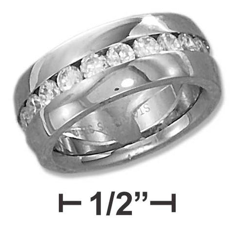 Stainless Steel 8mm Continuous Channel Set Cubic Zirconia Band | Jewelry Store
