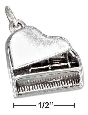 Sterling Silver Three Dimensional Grand Piano Charm | Jewelry Store