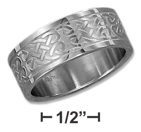 Stainless Steel Mens 9mm Brush Finish Etched Celtic Knot Band | Jewelry Store