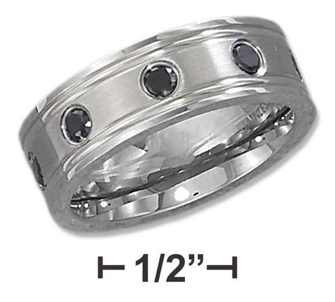 Stainless Steel 8mm Lined Edge And Black Cubic Zirconia Band | Jewelry Store