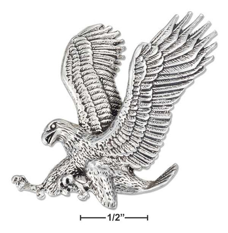 Sterling Silver Antiqued Landing Bald Eagle Pendant | Jewelry Store