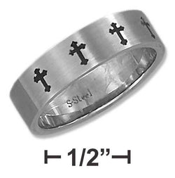 Stainless Steel Unisex 6mm Brush Finish Cross Band | Jewelry Store