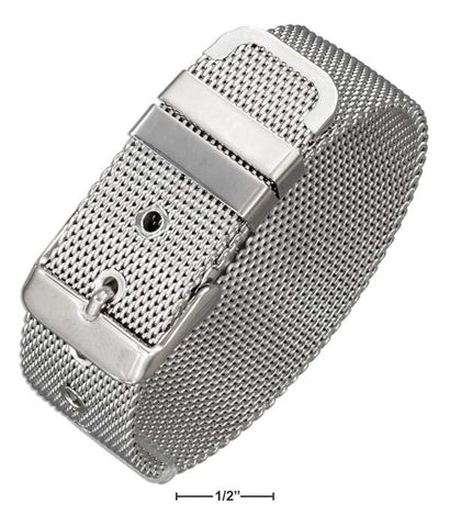 "Stainless Steel 8"" Adjustable Mesh Belt Buckle Band Style Bracelet 