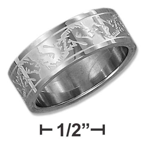Stainless Steel 8mm Satin And High Polish Etched Dragon Band | Jewelry Store