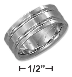 Stainless Steel Mens 8mm Wedding Band With Double Lines | Jewelry Store