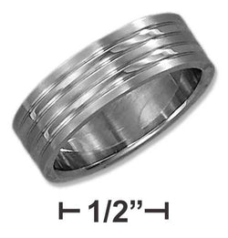 Stainless Steel 7mm High Polish Wedding Band With Brush Stripes | Jewelry Store