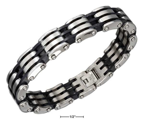 "Stainless Steel 8.5"" Plain And Black Open Striped Bar Link Bracelet 