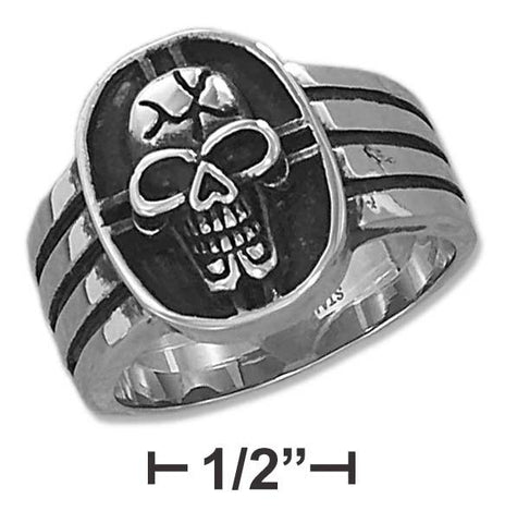 Stainless Steel Mens Cracked Skull Ring | Jewelry Store