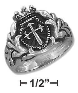 Stainless Steel Mens St James Cross Ring | Jewelry Store
