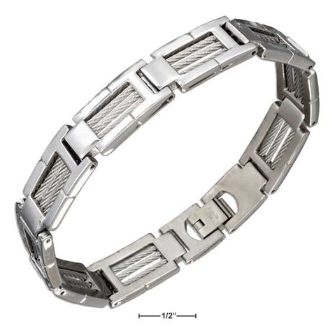"Stainless Steel 9"" Triple Cable Brushed Finish Frame Link Bracelet 