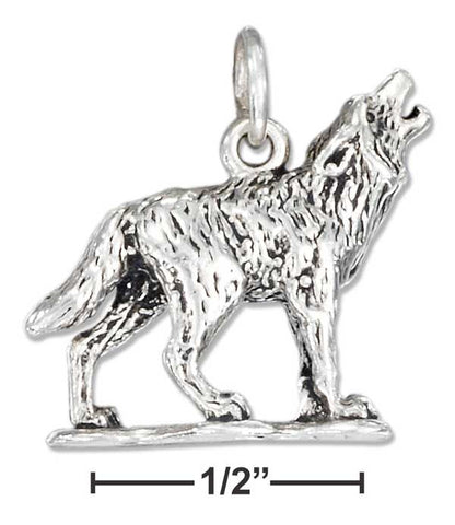 Sterling Silver Three Dimensional Howling Wolf Charm | Jewelry Store