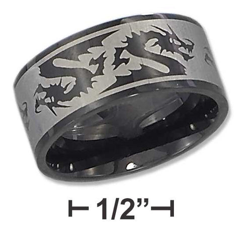 Black Stainless Steel Mens 10mm Laser Etched Dragon Band | Jewelry Store