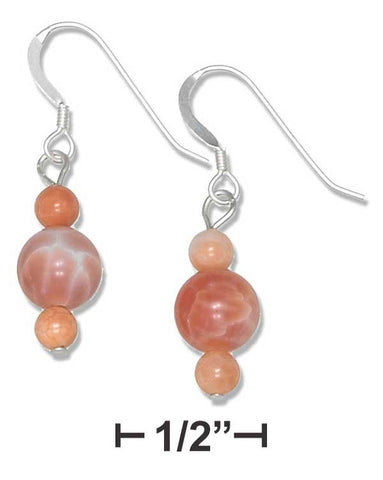 Sterling Silver Round Orange Fire Agate Bead Earrings | Jewelry Store