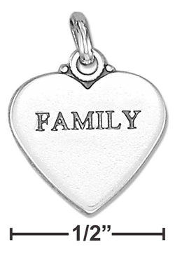 "Sterling Silver ""Family"" Affirmation Heart Charm 