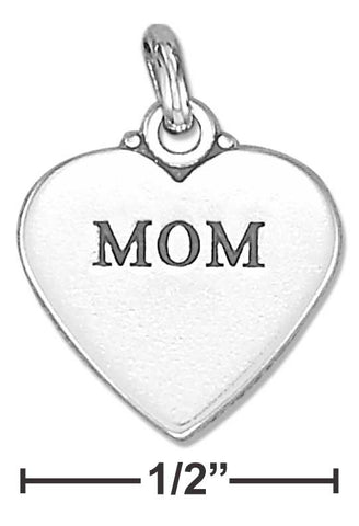"Sterling Silver ""Mom"" Affirmation Heart Charm 