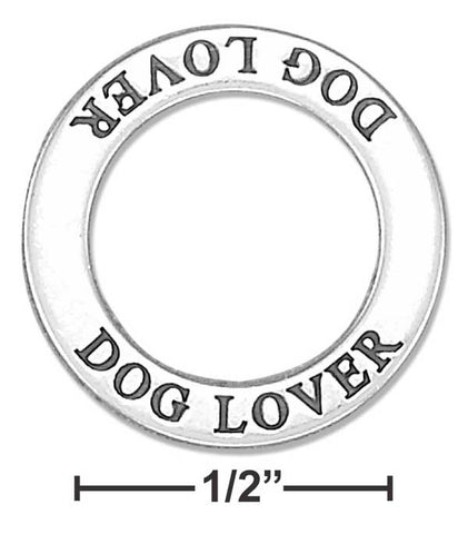 "Sterling Silver ""Dog Lover"" Affirmation Band Pendant 
