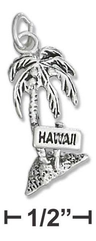 Sterling Silver Antiqued Palm Tree With 'Hawaii' Sign Charm | Jewelry Store