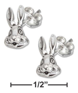 Sterling Silver Bunny Rabbit Face Earrings On Hypo-Allergenic Steel Posts And Nuts | Jewelry Store