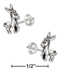 Sterling Silver Mini Little Donkey Earrings On Hypo-Allergenic Steel Posts And Nuts | Jewelry Store