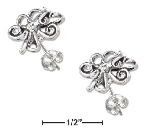 Sterling Silver Mini Octopus Earrings On Hypo-Allergenic Steel Posts And Nuts | Jewelry Store