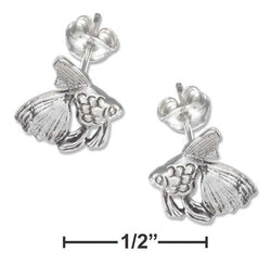 Sterling Silver Mini Goldfish Earrings On Hypo-Allergenic Steel Posts And Nuts | Jewelry Store