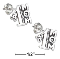 "Sterling Silver Mini "" #1 Mom"" Earrings On Hypo-Allergenic Steel Posts And Nuts 