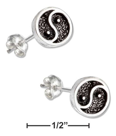 Sterling Silver Mini Yin And Yang Earrings On Hypo-Allergenic Steel Posts And Nuts | Jewelry Store