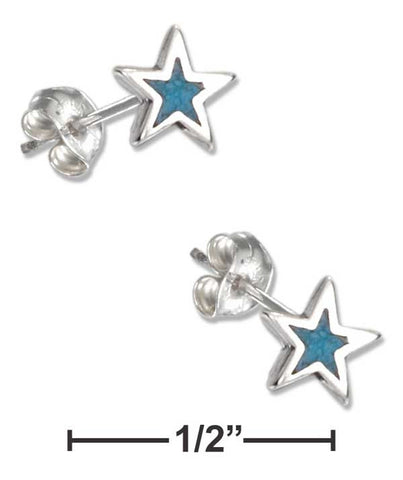 Sterling Silver Simulated Turquoise Star Earrings Hypo-Allergenic Steel Post/Nuts | Jewelry Store