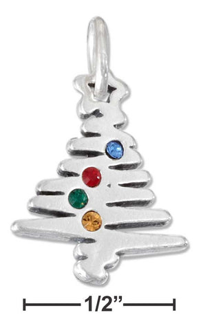 Sterling Silver Christmas Tree Charm With Swarovski Crystals | Jewelry Store