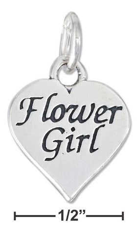 "Sterling Silver High Polish Heart With ""Flower Girl"" Charm 