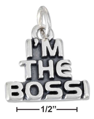 "Sterling Silver Antiqued ""I'M The Boss!"" Charm 