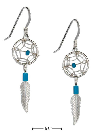 Sterling Silver Small Simulated Turquoise Dreamcatcher Earrings With Feather | Jewelry Store