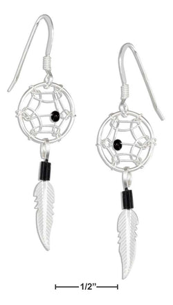 Sterling Silver Tiny Beaded Simulated Black Onyx Dreamcatcher Earrings | Jewelry Store