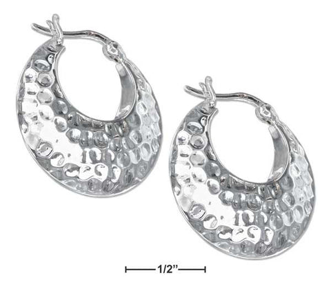 Sterling Silver Puffed Tapered Hammered Hoop Earrings With French Locks | Jewelry Store