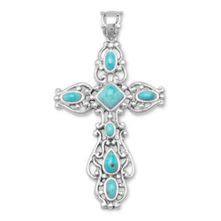 Ornate Oxidized Reconstituted Turquoise Cross Pendant | Jewelry Store