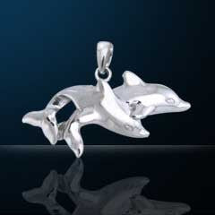 Nebula Tech Metal Double Dolphin Pendant | Jewelry Store