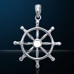 Nebula Tech Metal Ships Wheel Pendant | Jewelry Store