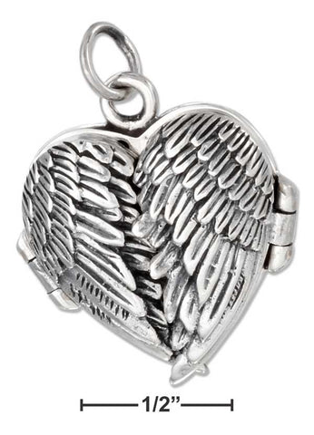 Sterling Silver Antiqued Angel Wings Heart Locket | Jewelry Store