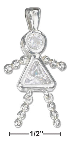 Sterling Silver April Clear Cubic Zirconia Birthstone Girl Pendant | Jewelry Store