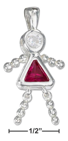 Sterling Silver July Bright Red Cubic Zirconia Birthstone Girl Pendant | Jewelry Store