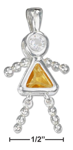 Sterling Silver November Yellow Cubic Zirconia Birthstone Girl Pendant | Jewelry Store