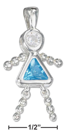 Sterling Silver December Aqua Blue Cubic Zirconia Birthstone Girl Pendant | Jewelry Store