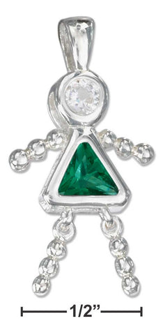 Sterling Silver May Green Cubic Zirconia Birthstone Girl Pendant | Jewelry Store