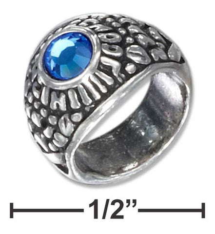Sterling Silver Small High School Ring Charm With Blue Crystal | Jewelry Store