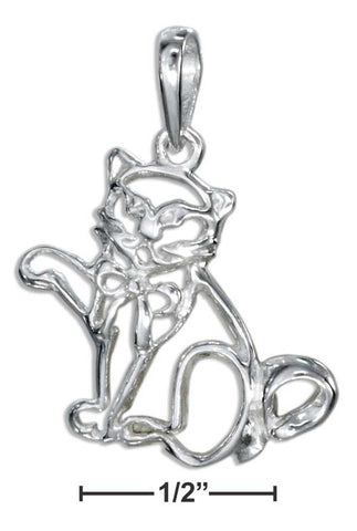 Sterling Silver Silhouette Cat Pendant With Bow | Jewelry Store
