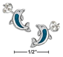 Sterling Silver Simulated Turquoise Dolphin Earrings On Hypo-Allergenic Steel Posts | Jewelry Store